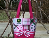 Diaper Bag or Tote handcrafted with John Deere Pink and Green Plaid Patchwork Fabric - Personalization Included