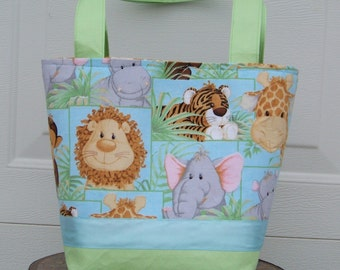 Jungle Animals Babies Diaper Bag in Light Blue and Light Green - Made To Order - Personalization Included