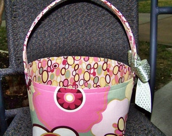 Pink and Sage Green Floral Fabric Easter Basket - Made to Order - Personalization Included - Great for Storage