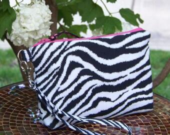 Wristlet Purse Small Clutch Small Zipper Pouch with Detachable Strap - Bridesmaid Purse in Black and White Zebra Print