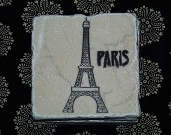 Paris Eiffel Tower in Black - Hand Stamped Travertine Tile Coasters - Set of 4 - Can be Personalized