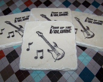 Guitar Music Notes - Turn Up the Volume - Hand Stamped Travertine Tile Coasters - Set of 4 - Great Father's Day Gift