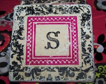 Pink and Black Damask Print with Initial - Hand Stamped Travertine Tile Coasters - Set of 4 - Any Color - Any Letter or Letters