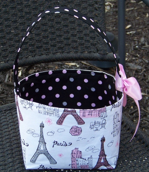 Pink, Black, Silver, and White Paris Eiffel Tower Fabric Basket - Made to Order - Personalization Included-Great for Mothers Day