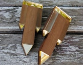 Geometric statement earrings, perspex and walnut