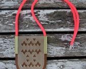 Geometric lasercut perspex, acrylic,  walnut and brass necklace.