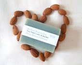 All Natural Tea Tree Lime Almond soap / Organic Almond Oil Soap / Handmade Michigan Soap / Cold Process Soap / Spa Gift /elitett teamyay