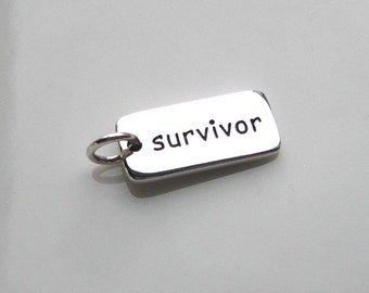 SURVIVOR Sterling Silver Word Charm