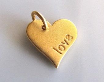 LOVE 24K Gold Vermeil Heart Word Charm