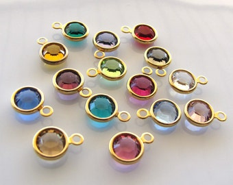 Gold 6mm Swarovski Crystal Birthstone Charms - Your Choice of 4 Charms