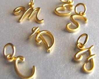 Gold Script Initial Charm