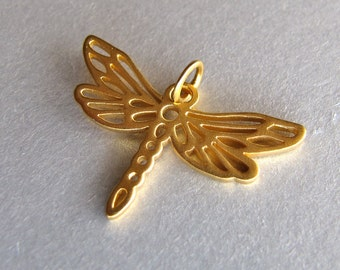 Gold Dragonfly Charm