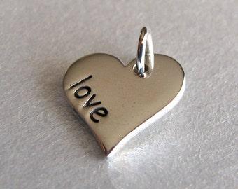 Silver LOVE Heart Word Charm