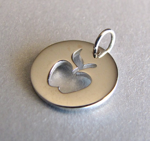Sterling Silver Apple Cut-Out Round Charm