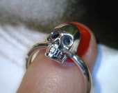 Sterling Silver High Polish Distressed Skull Ring--MARKET PRICE