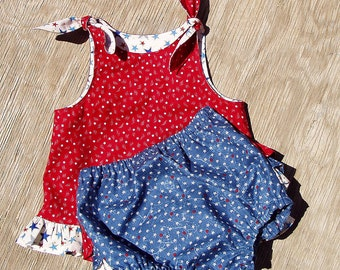 4th of July Outfit Seeing Stars Swing Top Set Size 24 Months