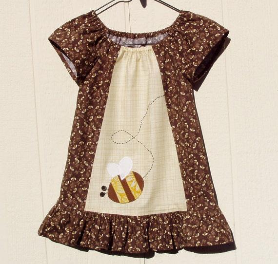 Honey Makers Brown Peasant Dress, Size 2 Toddler