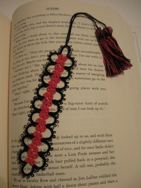 Pink and Black Tatted Bookmark