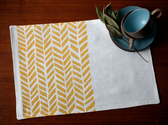 Blockprinted Linen Placemats - Four Feathers in Maize (set of 4)