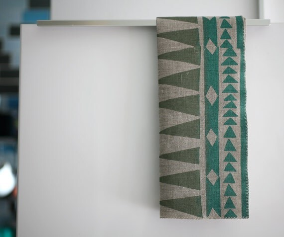 Blockprinted Linen Tea Towel - Arrows in Khaki/Teal