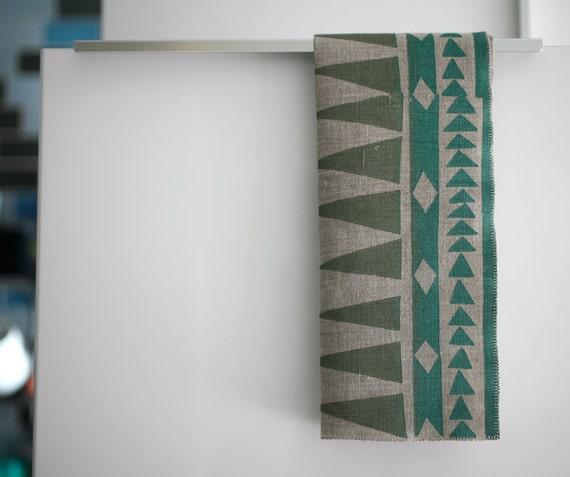 Blockprinted Linen Tea Towel - Arrows in Khaki/Teal