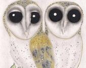 Barn Owls - 5X7 Original Artwork greeting card/Art piece