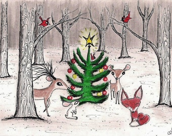 Winter Woodland Christmas - Original Artwork Card