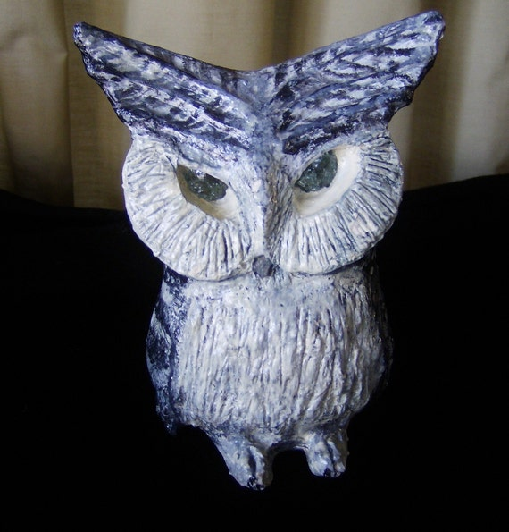 Serious Owl - Collectable paper mache sculpture