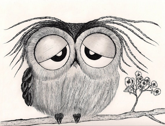 "It's been a long day...  says Mr. Owl -  8-1/2 X 11"" Art Print"