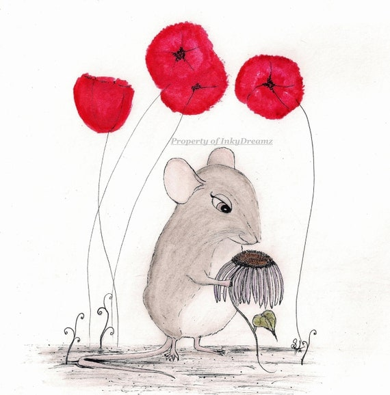 "Miss Rat and her Poppy Flowers - 8 -1/2-X 11""  Gloss Art Print"
