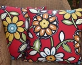 """Outdoor Pillow Covers, Red Flower Pillow Covers, Outdoor Cushions, Set of 2 16"""", SALE"""