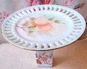 Georgia Cake Stand Cupcake Dessert Pedestal Jewelry Holder Upcycled Vintage Peaches Flowers. Hand Painted. Kitchen Hostess Gift