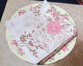 Cocktail Napkins. Maisie Cloth Napkin Set. Vintage Bed Linen Fabric. Pink White Brown Floral Retro. Hostess Gift Set of Four 4