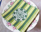 Reusable Cocktail Napkins Picnic Cloth Napkin Set Vintage Bed Linen Fabric. Green Yellow Lime White Floral Retro. Hostess Gift Set of Four 4