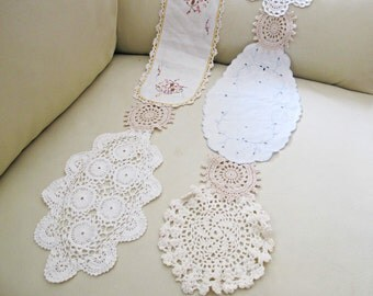 SALE Ramona Scarf Vintage Doily. Doilies Crochet Embroidered. Rustic Clothing. Shabby Chic. Garland.