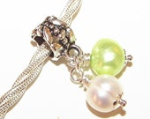 Charm DANGLE - Pandora Fit - 1 Double Dangle - Light Green and White - Freshwater Pearl - Potato - 26mm - Wire Wrapped - Silver - Ref 57