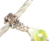 Charm DANGLE - Pandora Fit - 1 Pc - Light Green - Freshwater Pearl - Potato - 30mm - Wire Wrapped - Frosted Flower cap - Silver - Ref 60