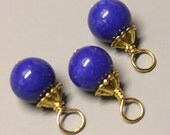 Lapis Blue Jade - 3 Pcs - DANGLES - 20mm - Wire wrapped - Gold - Ref 94