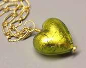 Venetian Glass Heart - DANGLE - 30mm - Herb Green with 24 Kt Gold Foil - Wire Wrapped - Vermeil - Ref 47