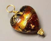 SALE - Venetian Glass - Heart - 1Pc - DANGLE - 33mm - Amber - Wire Wrapped - 24 kt Gold Vermeil - Ref 66