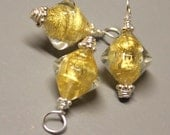 Venetian Glass - 3 Pcs - Bicone - DANGLE - 28mm - Gold and Clear - Wire Wrapped - Sterling Silver - Ref 107