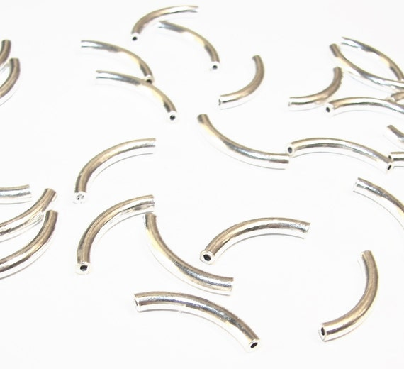 35 Pcs - Noodle Tubes - 17 X 1.9mm - Bright STERLING Silver - Ref 115