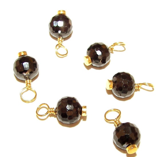 Cubic Zirconia DANGLE - 5 Pcs - Black - Faceted - 15mm drop - Round - Wire Wrapped - All VERMEIL - Ref CZ 2