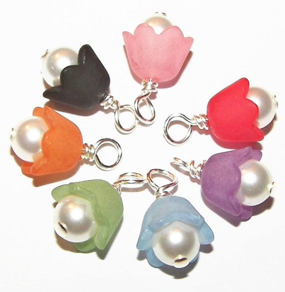 RESERVED - Bell Flower DANGLES - 16 Pcs - 16mm  - Freshwater Pearls  - Acrylic Lucite Flower Cap - Wire Wrapped with SILVER Headpin