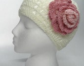 Crochet Hat in White with Pink Crocheted Flower  Boho