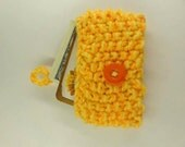 iPhone Cover Card Holder Business Card Case Hand Knitted  Yellow Pouch