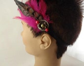 Christmas in July  Funky  Headband, Feathers, Rhinestone, Head Piece, Fascinator     CIJ - toppytoppy