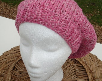 Slouchy Beanie in Pink Hand Knit Beret  Autumn Fall Accessories Tam Fashion