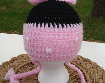 Pink  Hat for Girl Beanie Earflaps and Braids  kids hat