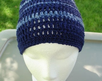 Crocheted Beanie Navy for DAD, crochet hat navy blue, crocheted stripped hat Ready to ship